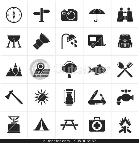 Black Camping and tourism icon stock vector clipart, Black Camping and tourism icons - vector icon set by Stoyan Haytov