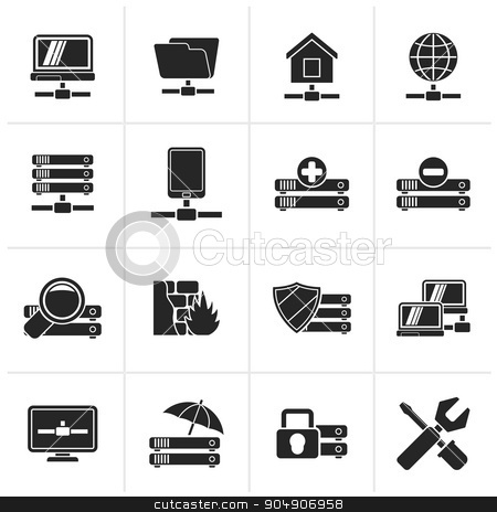 Black server, hosting and internet icons  stock vector clipart, Black server, hosting and internet icons - vector icon set by Stoyan Haytov