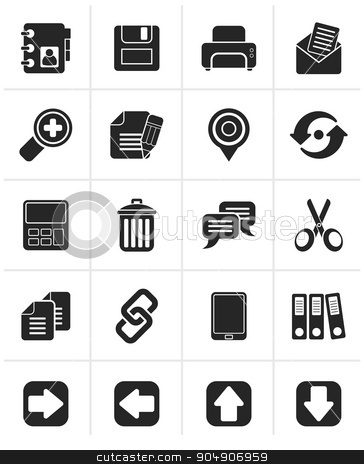 Black internet Interface Icons stock vector clipart, Black internet Interface Icons -  vector icon set by Stoyan Haytov