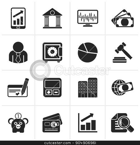 Black Business, finance and bank icons stock vector clipart, Black Business, finance and bank icons - vector icon set by Stoyan Haytov