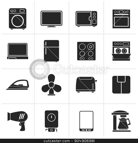 Black home appliance icons  stock vector clipart, Black home appliance icons - vector icon set by Stoyan Haytov