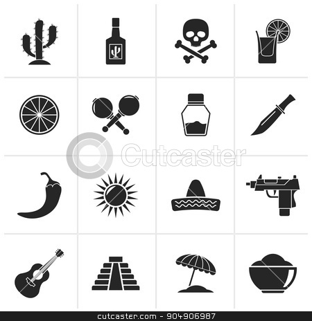 Black Mexico and Mexican culture icons stock vector clipart, Black Mexico and Mexican culture icons - vector icon set by Stoyan Haytov