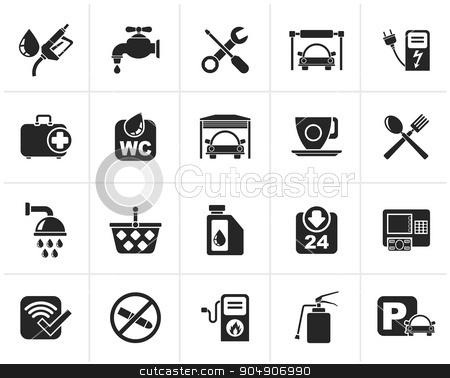 Black petrol station icons stock vector clipart, Black petrol station icons - vector icon set by Stoyan Haytov
