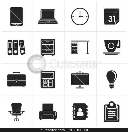 Black Business and office Icons stock vector clipart, Black Business and office Icons -vector icon set by Stoyan Haytov