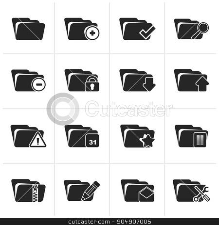 Black Different kind of folder icons stock vector clipart, Black Different kind of folder icons - vector icon set by Stoyan Haytov