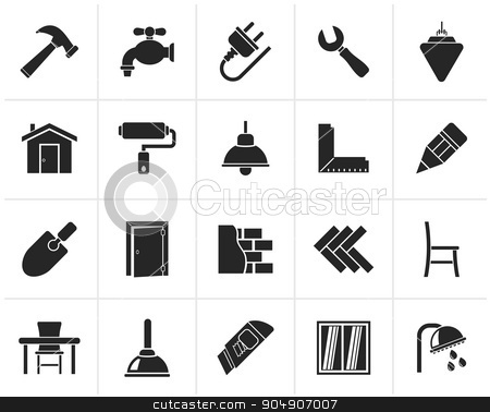 Black Building and home renovation icons stock vector clipart, Black Building and home renovation icons - vector icon set by Stoyan Haytov