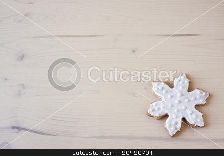White Snowflake Cookies stock photo, Snowflake shaped cookies with white decorations.  by AntoniaLorenzo