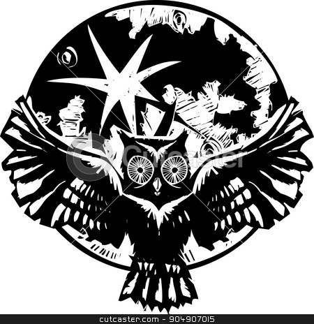 Flying Owl Moon stock vector clipart, Woodcut flying owl with feathered wings spread in front of a full moon. by Jeffrey Thompson