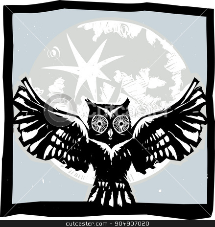 Flying Owl Moon Color stock vector clipart, Woodcut flying owl with feathered wings spread in front of a full moon. by Jeffrey Thompson