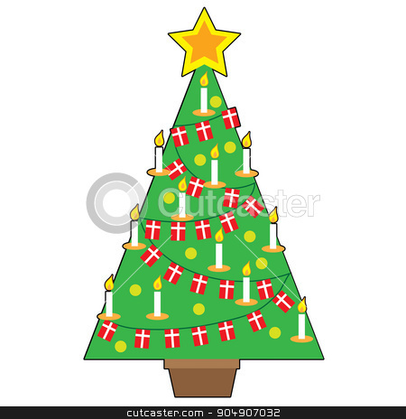 Danish Christmas Tree stock vector clipart, A stylized design of a traditional Danish Christmas tree by Maria Bell