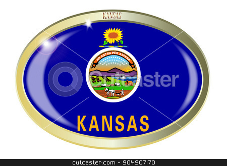Kansas State Flag Oval Button stock vector clipart, Oval metal button with the Kansas flag isolated on a white background by Kotto