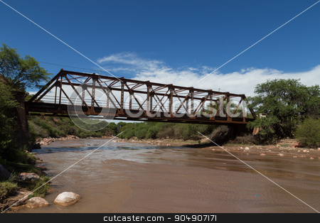 Steel Bridge Construction in Alemania, Argentina stock photo, Photograph of a steel bridge construction over a river in the small village Alemania, Argentina. by Oliver Foerstner