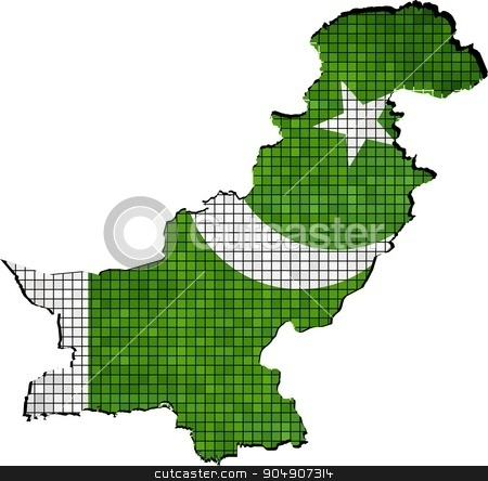 Pakistan map with flag inside stock vector