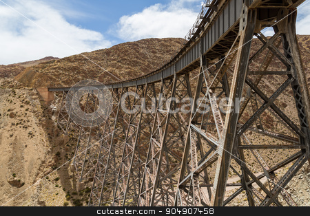 Polvorilla Viaduct in Argentina stock photo, Photograph of the Polvorilla viaduct in the Northwest of Argentina. by Oliver Foerstner