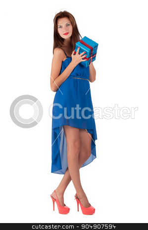 Young attractive woman portrait holding gift stock photo, Portrait of casual young happy woman hold gift box. Isolated studio background female model by Aikon