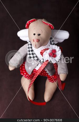 hand made teddy bear stock photo, hand made teddy bear with wings by HOMON OLEKSANDR
