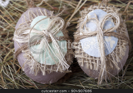 souvenir Easter eggs stock photo, souvenir Easter eggs in the manger by HOMON OLEKSANDR