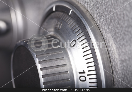combination lock close-up stock photo, combination lock on the safe closeup gray by HOMON OLEKSANDR