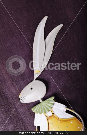 souvenir rabbit decorations close up stock photo, souvenir rabbit decor close-up on a brown background by HOMON OLEKSANDR