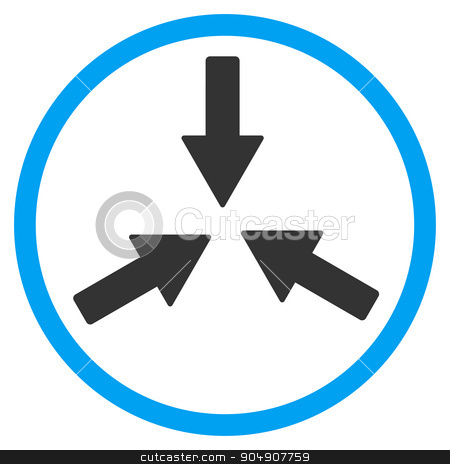 Collide Arrows Rounded Icon stock vector clipart, Collide Arrows vector icon. Style is bicolor flat circled symbol, blue and gray colors, rounded angles, white background by ahasoft