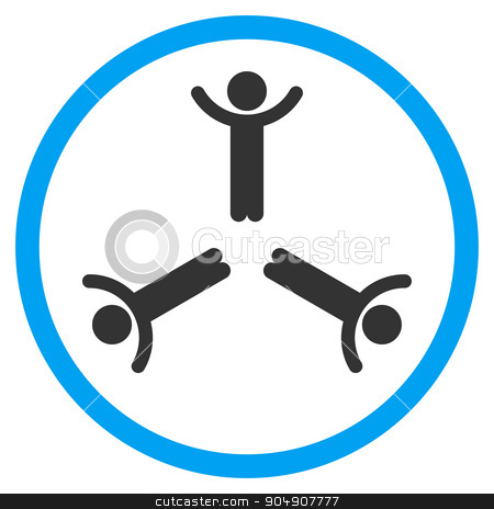 Hands Up Men Rounded Icon stock vector clipart, Hands Up Men vector icon. Style is bicolor flat circled symbol, blue and gray colors, rounded angles, white background by ahasoft