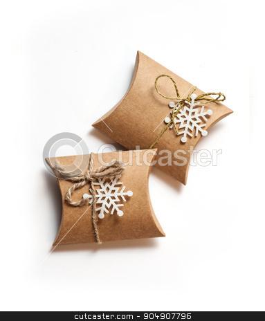 Gift box with ribbon bow and snowflake stock photo, Gift box with ribbon bow and snowflake. by timonko
