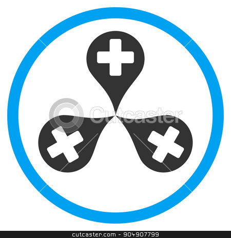 Hospital Map Markers Rounded Icon stock vector clipart, Hospital Map Markers vector icon. Style is bicolor flat circled symbol, blue and gray colors, rounded angles, white background by ahasoft