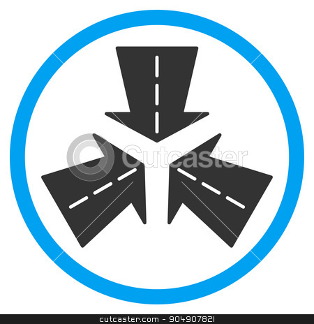 Merge Directions Rounded Icon stock vector clipart, Merge Directions vector icon. Style is bicolor flat circled symbol, blue and gray colors, rounded angles, white background by ahasoft
