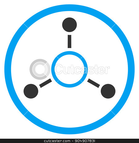 Radial Structure Rounded Icon stock vector clipart, Radial Structure vector icon. Style is bicolor flat circled symbol, blue and gray colors, rounded angles, white background by ahasoft
