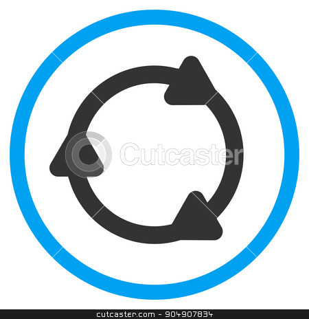 Rotate Back Rounded Icon stock vector clipart, Rotate Back vector icon. Style is bicolor flat circled symbol, blue and gray colors, rounded angles, white background by ahasoft