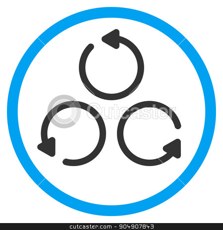 Rotation Rounded Icon stock vector clipart, Rotation vector icon. Style is bicolor flat circled symbol, blue and gray colors, rounded angles, white background by ahasoft