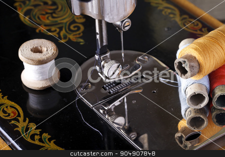 vintage the sewing machine stock photo, vintage the sewing machine close up , retro style by HOMON OLEKSANDR