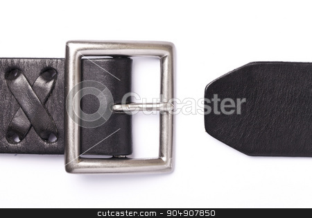 Belt with a fastener isolated stock photo, Black belt with a fastener isolated on a white background by HOMON OLEKSANDR