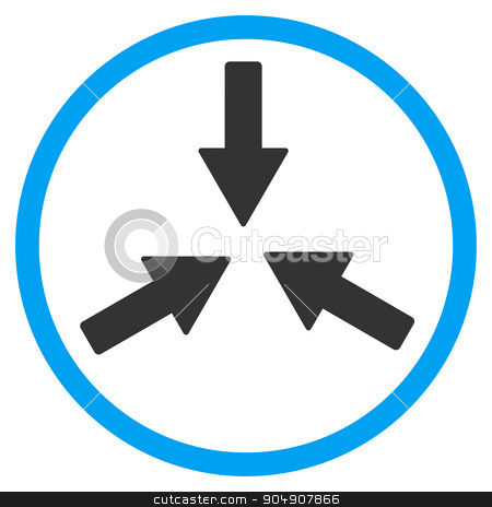 Collide Arrows Rounded Icon stock photo, Collide Arrows glyph icon. Style is bicolor flat circled symbol, blue and gray colors, rounded angles, white background by ahasoft