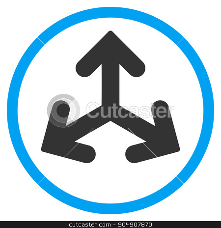 Direction Variants Rounded Icon stock photo, Direction Variants glyph icon. Style is bicolor flat circled symbol, blue and gray colors, rounded angles, white background by ahasoft