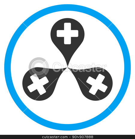 Hospital Map Markers Rounded Icon stock photo, Hospital Map Markers glyph icon. Style is bicolor flat circled symbol, blue and gray colors, rounded angles, white background by ahasoft