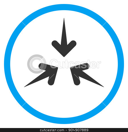 Impact Arrows Rounded Icon stock photo, Impact Arrows glyph icon. Style is bicolor flat circled symbol, blue and gray colors, rounded angles, white background by ahasoft
