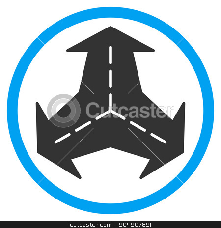 Intersection Directions Rounded Icon stock photo, Intersection Directions glyph icon. Style is bicolor flat circled symbol, blue and gray colors, rounded angles, white background by ahasoft