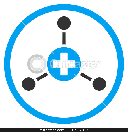 Medical Center Rounded Icon stock photo, Medical Center glyph icon. Style is bicolor flat circled symbol, blue and gray colors, rounded angles, white background by ahasoft