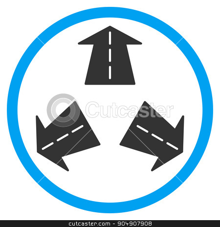 Road Directions Rounded Icon stock photo, Road Directions glyph icon. Style is bicolor flat circled symbol, blue and gray colors, rounded angles, white background by ahasoft