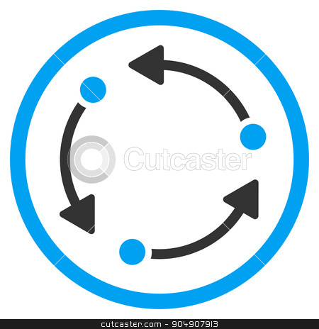 Rotate Rounded Icon stock photo, Rotate glyph icon. Style is bicolor flat circled symbol, blue and gray colors, rounded angles, white background by ahasoft