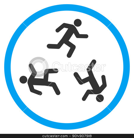 Running Men Rounded Icon stock photo, Running Men glyph icon. Style is bicolor flat circled symbol, blue and gray colors, rounded angles, white background by ahasoft