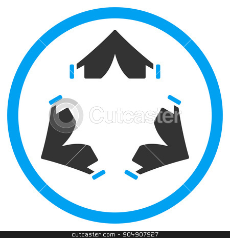 Tent Camp Rounded Icon stock photo, Tent Camp glyph icon. Style is bicolor flat circled symbol, blue and gray colors, rounded angles, white background by ahasoft