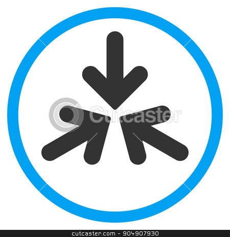 Triple Collide Arrows Rounded Icon stock photo, Triple Collide Arrows glyph icon. Style is bicolor flat circled symbol, blue and gray colors, rounded angles, white background by ahasoft