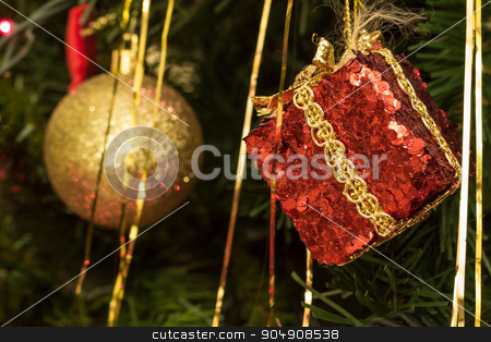 Christmas decorations stock photo, Various Christmas tree decorations by Alfredo Steccanella