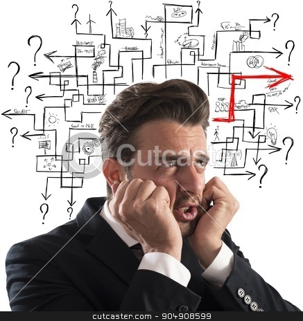 Solution of maze of answer stock photo, Worried man finds the difficult maze solution by Federico Caputo