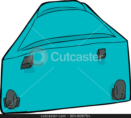 Blue Luggage Suitcase stock vector clipart, Blue suitcase with wheels laying down over white by Eric Basir