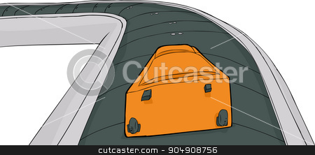Suitcase on Isolated Carousel stock vector clipart, Single suitcase laying on baggage claim carousel by Eric Basir