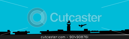 Plane Taking Off at Airport stock vector clipart, Silhoutte background of plane taking off at airport by Eric Basir