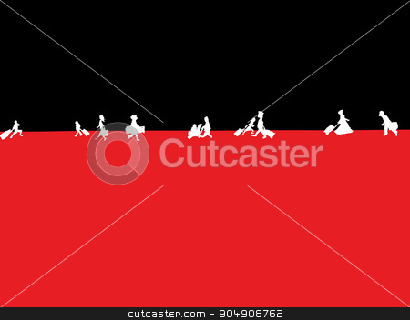 Travelers Walking and Their Luggage stock vector clipart, Silhoutte of various travelers walking in background by Eric Basir